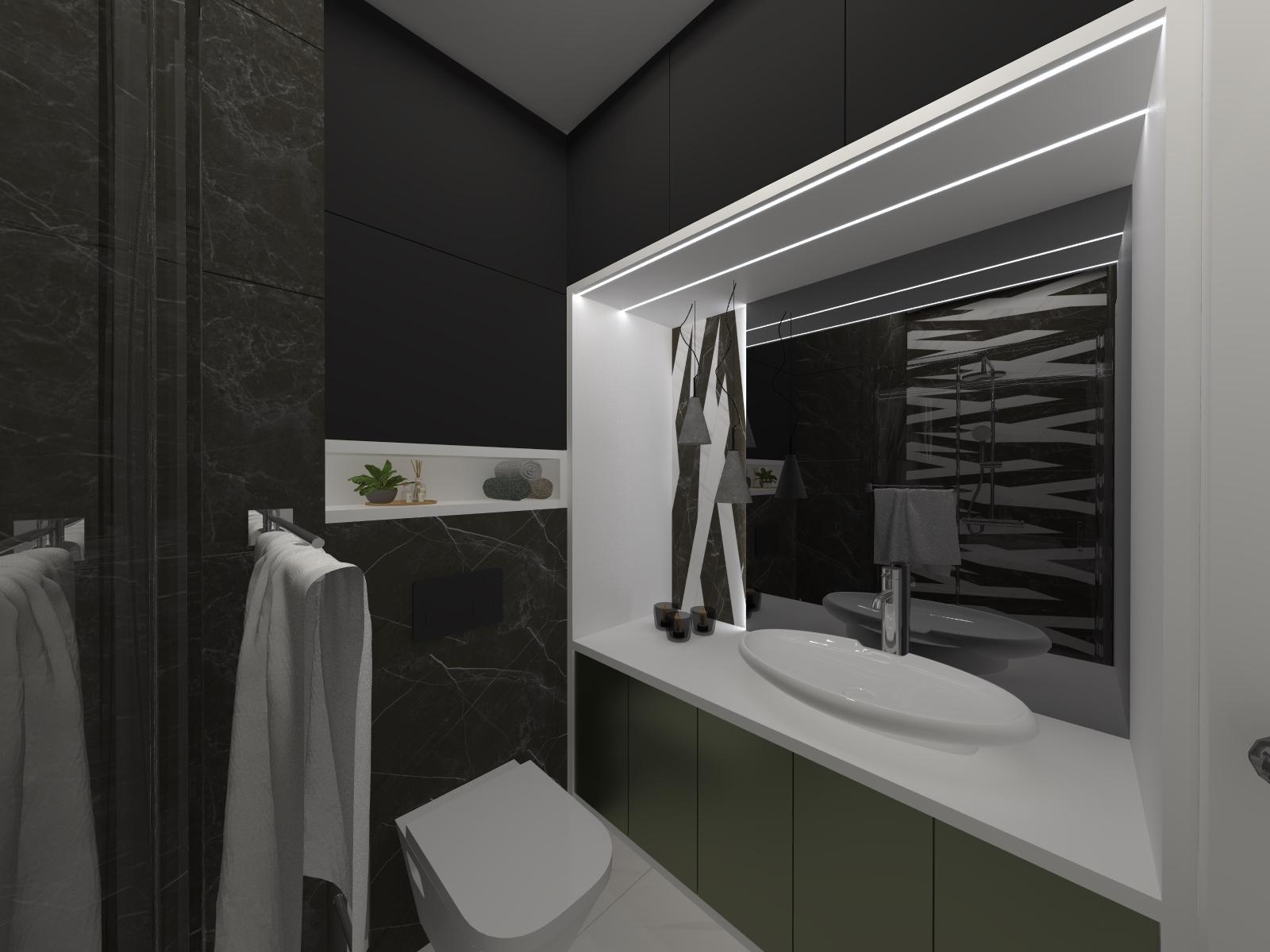łazienka Czarny Biały Marmur światło Lustro Duże