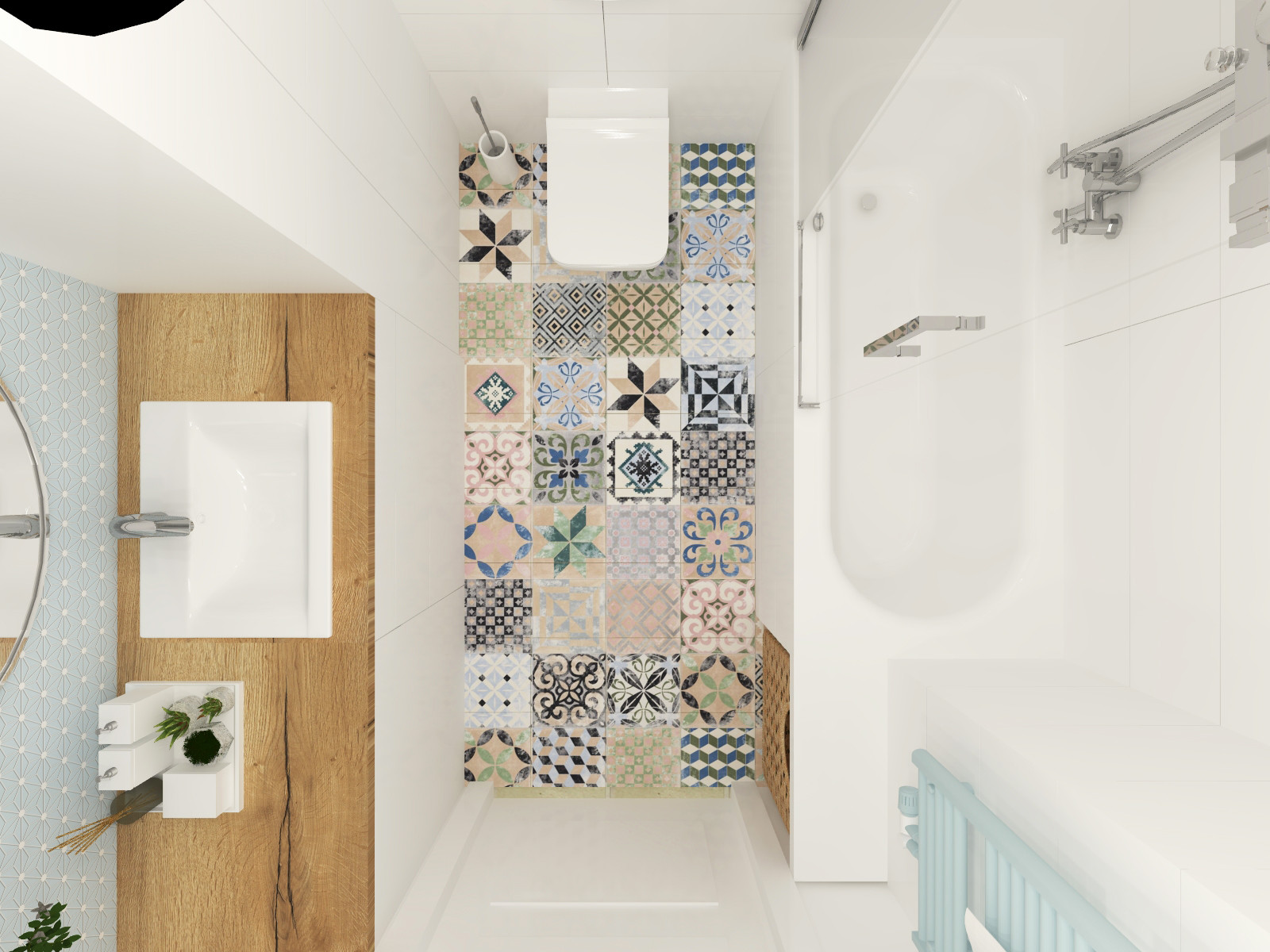 łazienka Biel Z Nutą Boho I Błękitu Anntresola